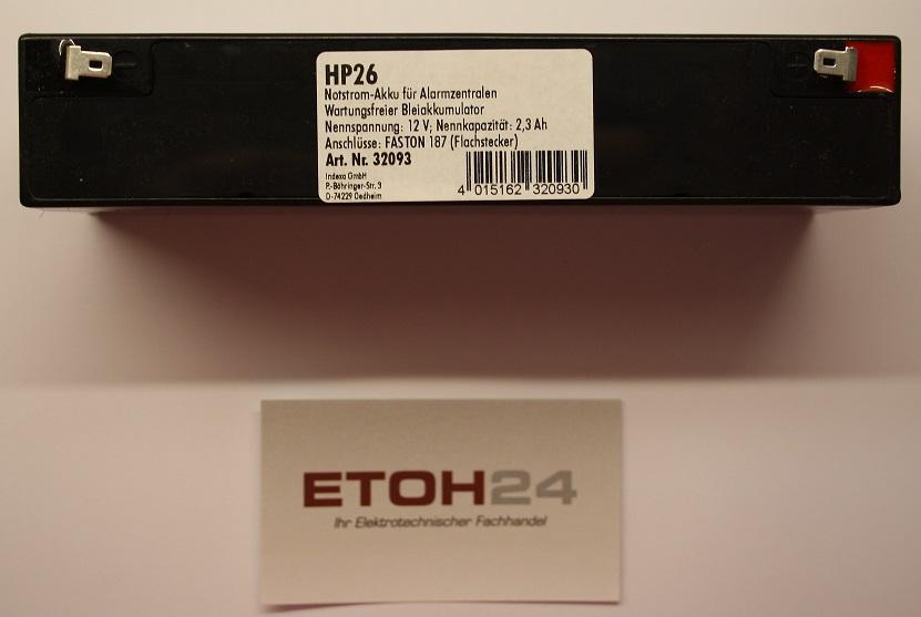 Notstromakku HP 26 für Alarmanlage Indexa System 6000