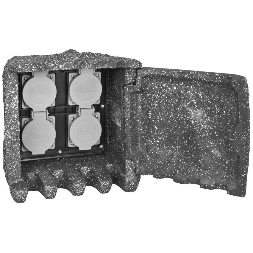 Verteiler mit Tür 4 Steckdosen 230V/16A